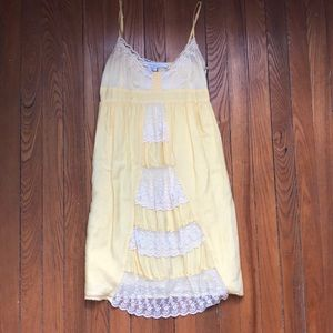 Yellow Sun Dress with Lace Detail